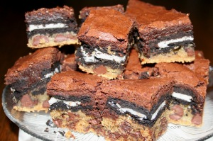 According to family lore, you can make them even sluttier by adding a layer of dulce de lece before the brownies.